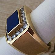 Gent's Vintage 14K Lapis & Diamond Ring