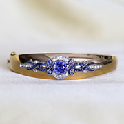 Lady's Vintage 14K Diamond & Sapphire Bangle Bracelet