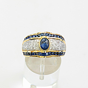 Lady's Vintage Custom 18K Sapphire & Diamond Ring