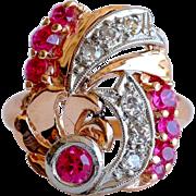 Lady's Circa 1930's Retro 14K Rose Gold Ruby & Diamond Ring
