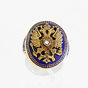 Rare Vintage 14K Russian Double Eagle Enameled Ring