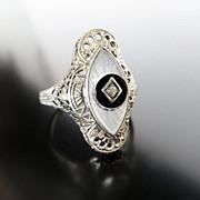 Lady's 14K Art Deco Filigree Diamond & Crystal Ring