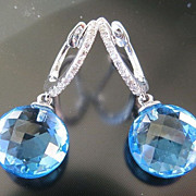 SOLD Lady's Custom 14K W/G Faceted Topaz & Diamond Earrings