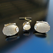 Gent's 14K Vintage Cuff Links & Tie Tack With Diamond Accents
