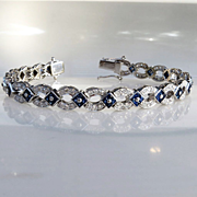 Ladys Custom 18K 2.40 Ct. Diamond & Sapphire Bracelet