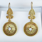 Fabulous Pair Of Ladys Victorian 14K Diamond Earrings