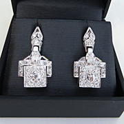 Exquistite Pair Of Ladys Vintage Art Deco Platinum Earrings