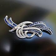 Vintage Art Deco Ladys 14K White Gold Sapphire & Diamond Brooch
