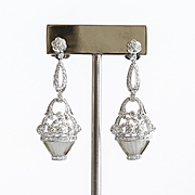 Vintage 1020's 18K Crystal & Diamond Basket Of Flower Earrings