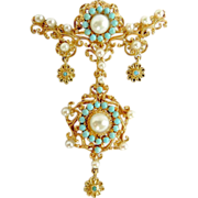 Magnificent Lady's 18K Antique Persian Turquoise Brooch