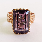 Circa 1860 14K Rose Gold Intaglio Cut French Amethyst Ring