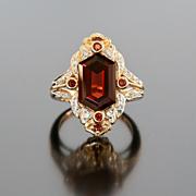 Lady's Vintage 14K Garnet & Diamond Ring