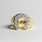 Beautiful Vintage 14K Diamond Horseshoe Ring