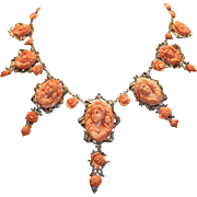 Circa 1900 Museum Quality Coral Cameo Gold And Silver Necklace
