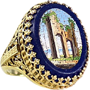 Exceptional Antique 14K Roman Ruin Micro Mosaic Ring