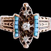 Circa 1880 Antique Lady's 14K Rose Gold Diamond & Persian Turquoise Ring