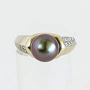 Vintage Lady's 14K Gray Cultured Tahitian Pearl & Diamond Ring