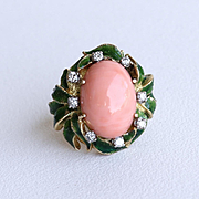 Lady's Vintage Custom 14K Coral, Enameled & Diamond Ring