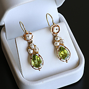 Lady's Antique Circa 1890 14K Citrine & Pearl Earrings