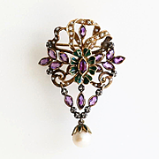 Exquisite Circa 1905 Antique 14K & Silver Edwardian Pearl Brooch