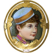 Circa 1900 Rare Portrait On Porcelain Of Lillian Russell