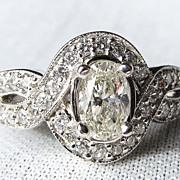 Lady's 14K White Gold Art Deco Style Oval Diamond Ring