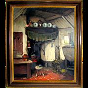SALE Listed Artist Arie J. Zwart Oil Painting of Dutch Interior View, Hague School