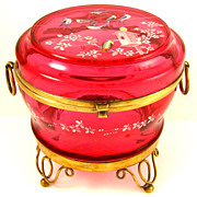 SALE Antique Bohemian Raised Enamel Cranberry Glass Jewelry Casket / Box