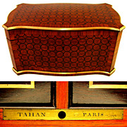 SOLD Antique French TAHAN Paris Signed Kingwood Parquetry Inlay Twin Tea Caddy Box