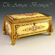 SOLD Antique French Gilt Bronze Jewelry Casket Box, Raised Enameled Jewels / Kiln Fired Enamel