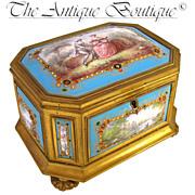 SOLD Large Rare Antique French Gilt Bronze Jewelry Casket Box, NINE Jeweled Kiln-Fired Enamel