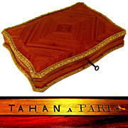 SOLD Antique 19c French Signed TAHAN PARIS Kingwood Inlay & Gilt Bronze Games Box, Casket