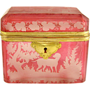 SOLD Antique Bohemian Engraved Glass Hunting Theme Jewelry Box, Sugar Casket