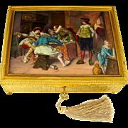 SOLD Antique French Gilt Bronze Jewelry Casket Box, Enamel Portrait Plaque, Tavern Scene with