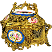 SOLD Large Antique French Bronze or Brass Jewelry Casket, Box, with Hand Painted Porcelain Pla