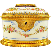 SOLD Antique French Hand Painted Opaline Glass Jewelry Casket Box