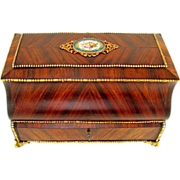 SOLD Antique French Napoleon III era Sewing / Jewelry Casket Box, Gilt Bronze & Porcelain