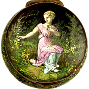SOLD Antique French Limoges Enamel on Copper Portrait of a Lady Hinged Pill or Snuff Box