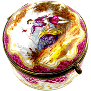Antique French Paris Porcelain Hand Painted Patch / Snuff Hinged Box Gilt Interior, Marc Eugen