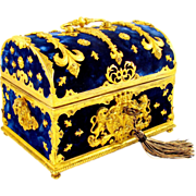 SOLD Antique French Napoleon III Gilt Bronze Marriage Box / Casket, Armorial Coat of Arms