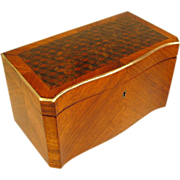 SOLD Antique French Napoleon III Kingwood Marquetry Inlay Double Tea Caddy Box