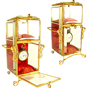SOLD Antique French Napoleon III Beveled Glass & Gilt Ormolu Pocket Watch Holder & Jewelry Box