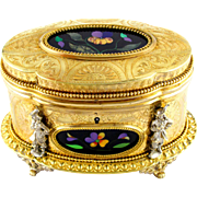 SALE Antique French Pietra Dura Gilt Bronze Ormolu Jewelry Casket Box