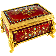 Antique French Kiln-Fired Enamel Gilt Bronze Jewelry Casket Box, Raised Enamel Jewels