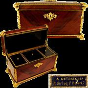 SALE Large Antique French A. GIROUX Gilt Bronze & Wood Triple Tea Caddy, Casket