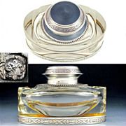 Large French Sterling Silver Guilloche Enamel Cut Crystal Inkwell
