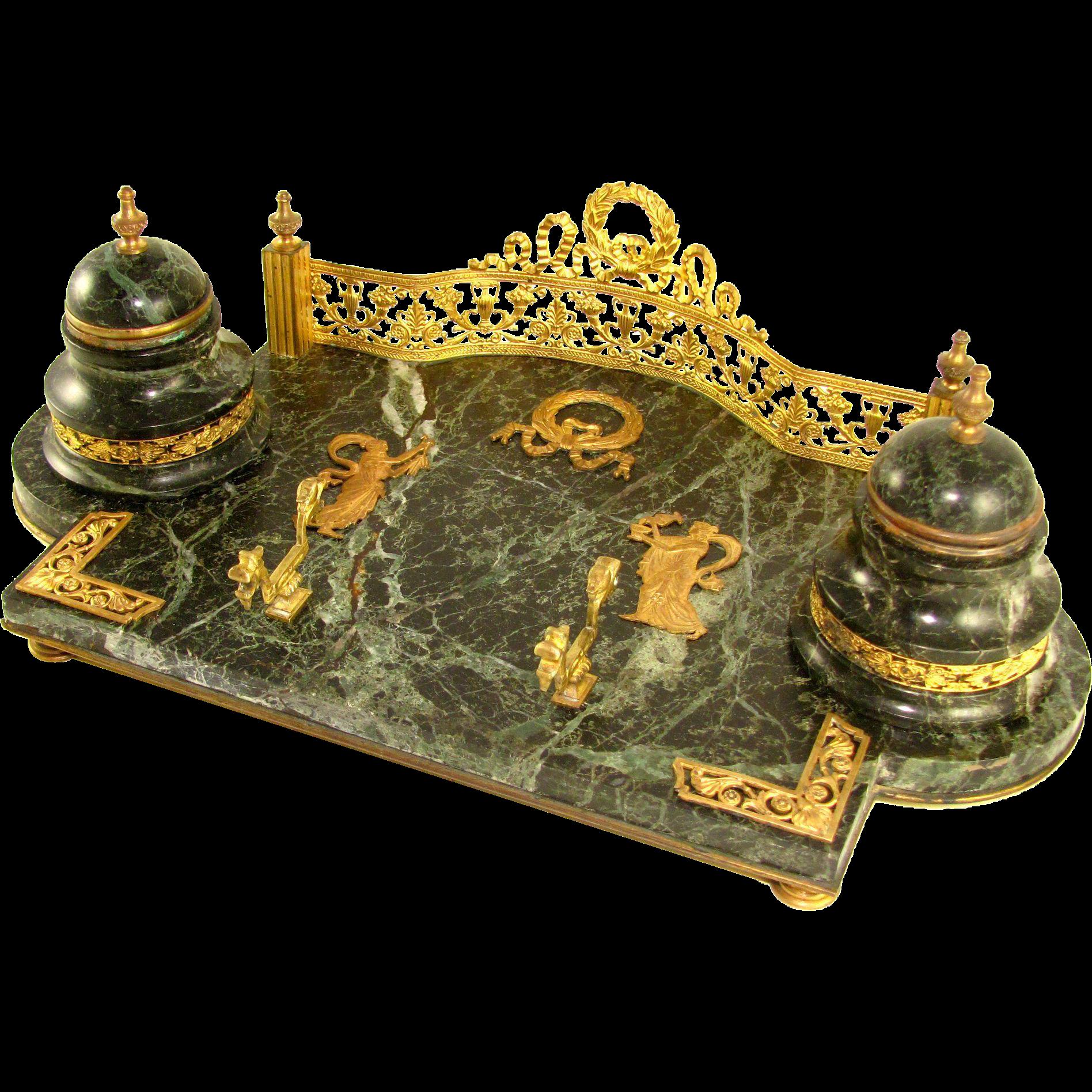 Antique French Napoleon III Empire Gilt Bronze Marble ...