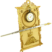 Antique French Napoleon III Empire Gilt Bronze Ormolu Pocket Watch Display Stand, Pen Rest / C