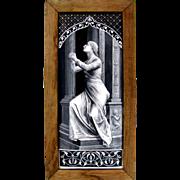 SOLD LARGE Antique 19c French Limoges Enamel on Copper Grisaille Portrait Plaque,