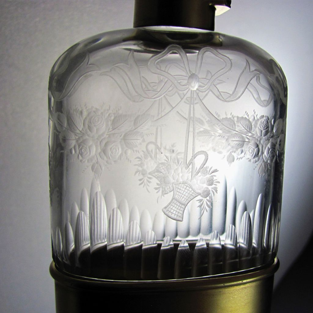 English Sterling Silver Engraved Glass Liquor Flask